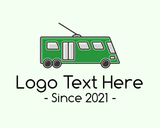Toy Train - Line Wire City Bus logo design