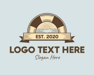 Rustic Beach Sunset Logo Maker