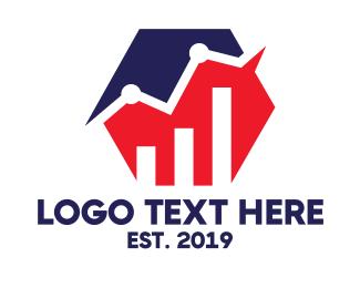 Stock Market - Blue Red Hexagon Chart logo design