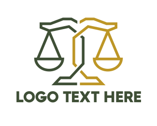 Cyber Crime - Geometric Attorney Lawyer Justice logo design