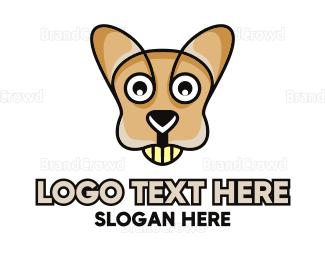 Caricature - Happy Cartoon Kangaroo logo design