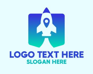 Modern Blue Gradient Rocket Logo