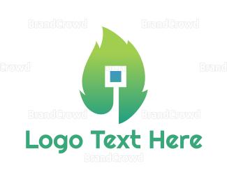 Led - Square Leaf logo design