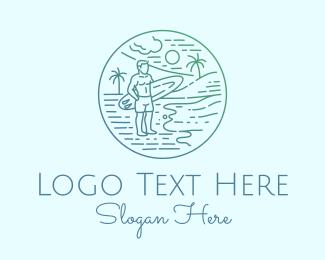 Water Sports - Surfer Tropical Island  logo design