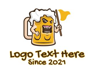 Bourbon - Angry Beer Mug  logo design