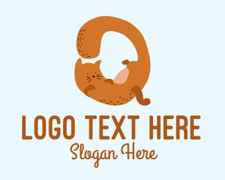 Playful - Playful Cat Letter Q logo design