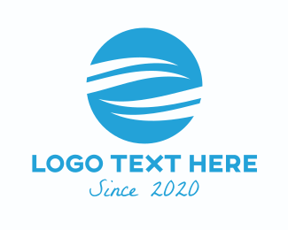 Element - Blue Round  Sea Wave  logo design