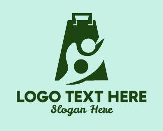 Shopify - Green Shopping Bag Person logo design