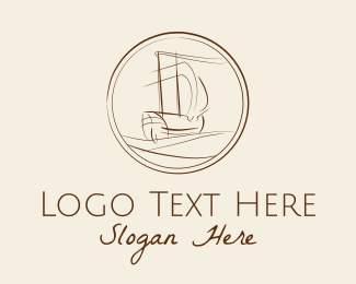 Sea Travel - Explorer Ship Drawing  logo design