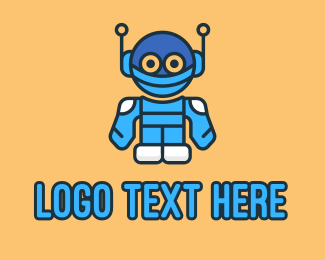 Cartoonish - Blue Robot Character logo design