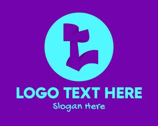 Skate - Neon Graffiti Art Letter L logo design