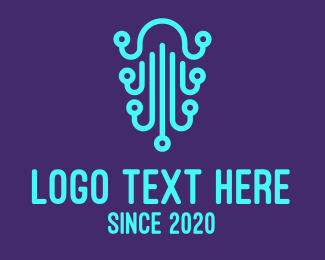 Jellyfish - Digital Blue Jellyfish  logo design
