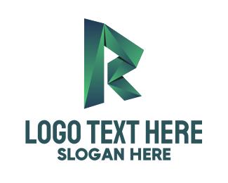 Letter - Green Origami Letter R logo design
