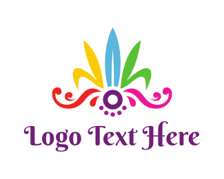 Feather - Colorful Feather Headdress logo design
