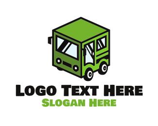School Bus - Cube Automotive Van Truck logo design