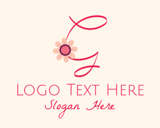 Calligraphic - Pink Flower Letter G logo design