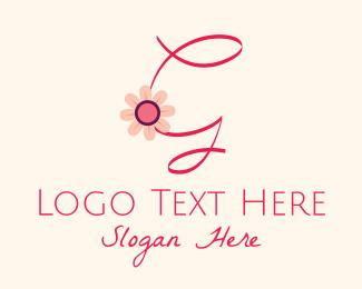 Calligraphy - Pink Flower Letter G logo design