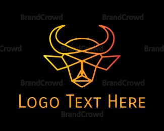 Burning Man - Minimalist Bull logo design