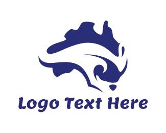 Australian Flag - Australian Kangaroo  logo design