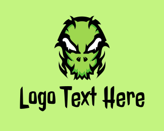 Tattoo Gallery - Green Creepy Halloween Mask logo design