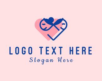 Dad - Heart Couple logo design
