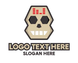 Dj - DJ Skull Equalizer logo design