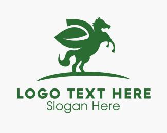 Pegasus - Horse Leaf logo design