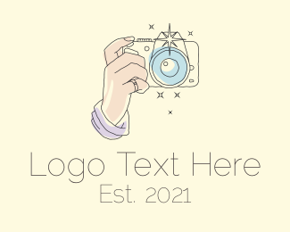 Watercolor - Pastel Camera Line Art logo design
