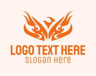 Fire - Tribal Fiery Phoenix logo design