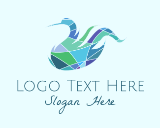 Wellness And Spa - Stained Glass Swan  logo design