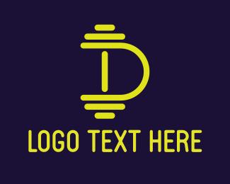 Weight - Dumbbell Letter D logo design
