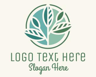 Produce - Leafy Branch Circle logo design