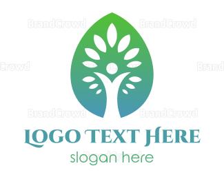 Respirology - Gradient Leaf Tree logo design
