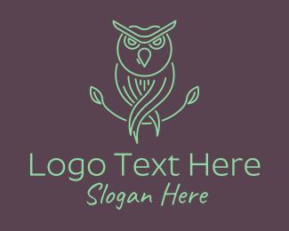Cocoon - Green Minimalist Owl Bird logo design