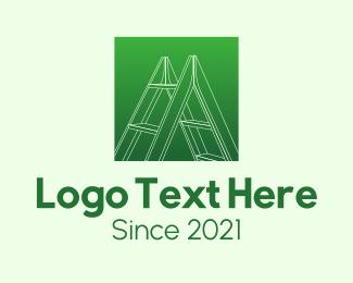 Carpentry - Green Carpentry Ladder logo design
