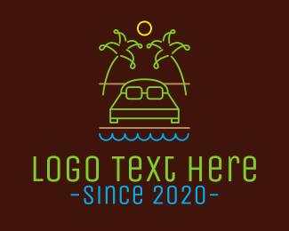 Pillow - Neon Summer Resort logo design