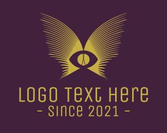 Eyelash - Golden Eye Wings logo design