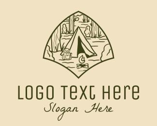 Backpacker - Minimalist Desert Camping  logo design