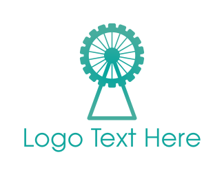 Amusement Park - Blue Ferris Gear logo design