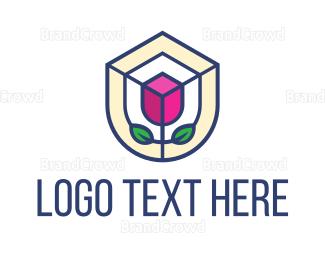 Botanical - Mosaic Flower Shield logo design