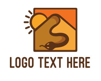 Brown Orange - Snake Desert Dune logo design