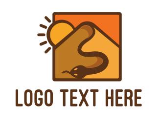 African - Snake Desert Dune logo design