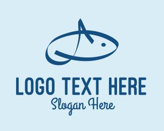 Aquatic - Blue Aquatic Fish  logo design