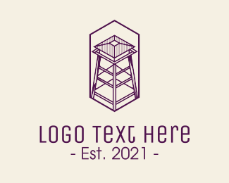 Military Base - Minimalist Watchtower logo design