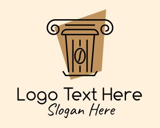 Roasted - Coffee Bean Cup Pillar logo design