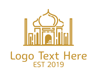 Uae - Arabian Temple Outline logo design