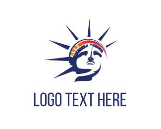 America - Statue & Speedometer logo design