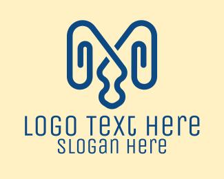 Office Supplies - Letter M Paper Clips logo design