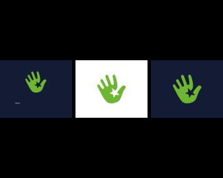 Five Star - Green Hand Star logo design
