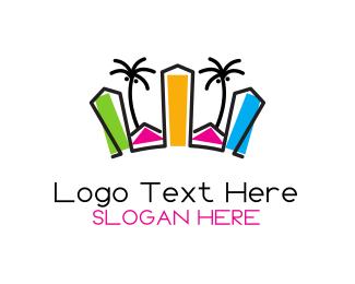 Seaside - Tropical City logo design